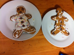 Gingerbread men with water icing
