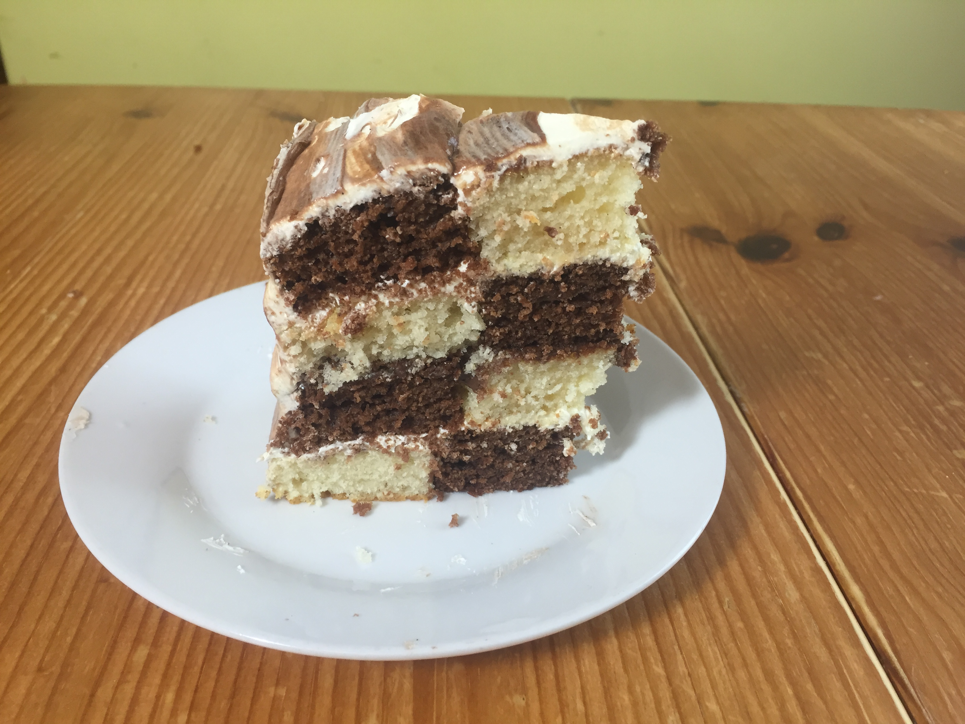 Vanilla Chocolate checkerboard cake